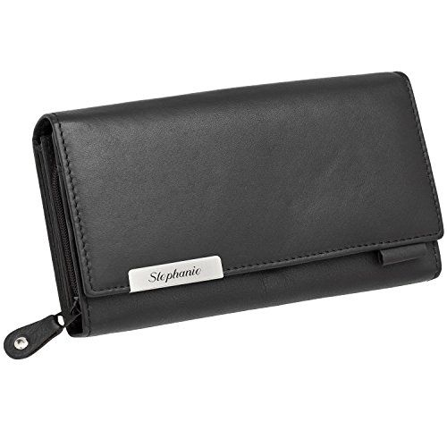 a217e2e4075dd Cadenis Damen-Geldbörse Geldbeutel Leder mit Laser-Gravur aus Rindnappa schwarz  Querformat 17 x