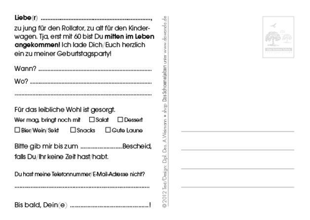 einladung 60. geburtstag (zu früh, zu spät) | 2!, 10. and products, Einladung