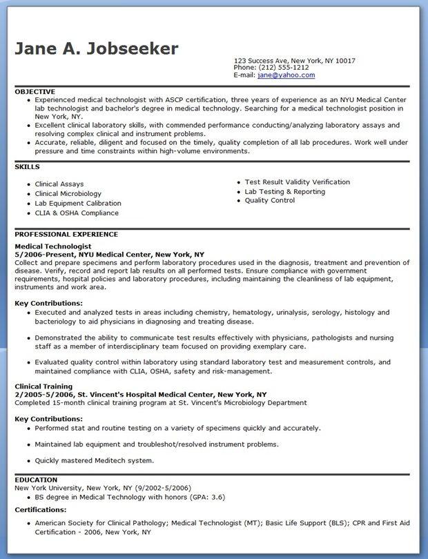 medtech resume sample