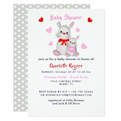 Whimsy super cute bunny rabbits baby shower invite whimsy super cute bunny rabbits baby shower invite red gifts color style cyo diy personalize negle Image collections