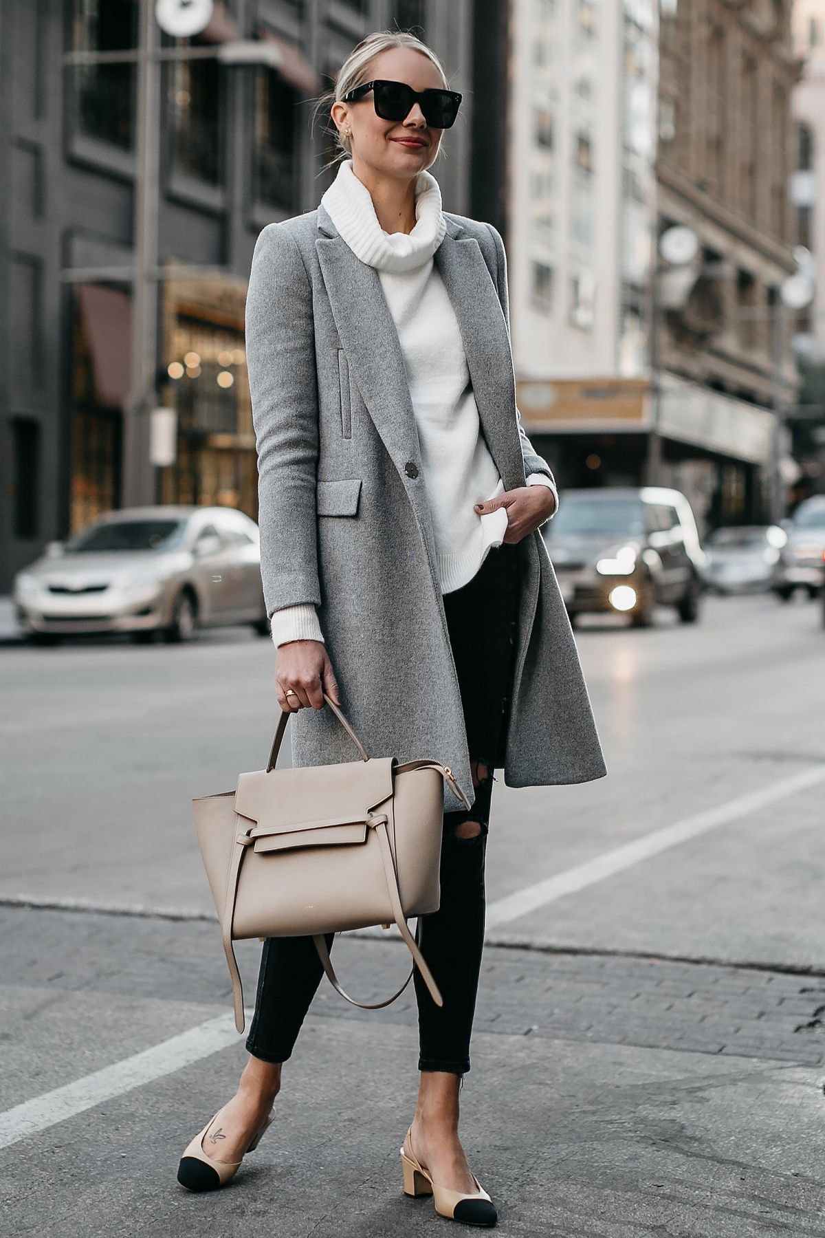 3b0f7e699e Blonde Woman Wearing Grey Wool Coat White Turtleneck Sweater Celine Mini  Belt Bag Black Ripped Skinny Jeans Chanel Slingbacks Fashion Jackson Dallas  Blogger ...