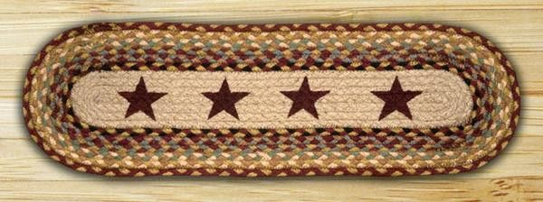 Best 27In X 8 25In Burgundy Cream Sage Stars Oval Braided 400 x 300