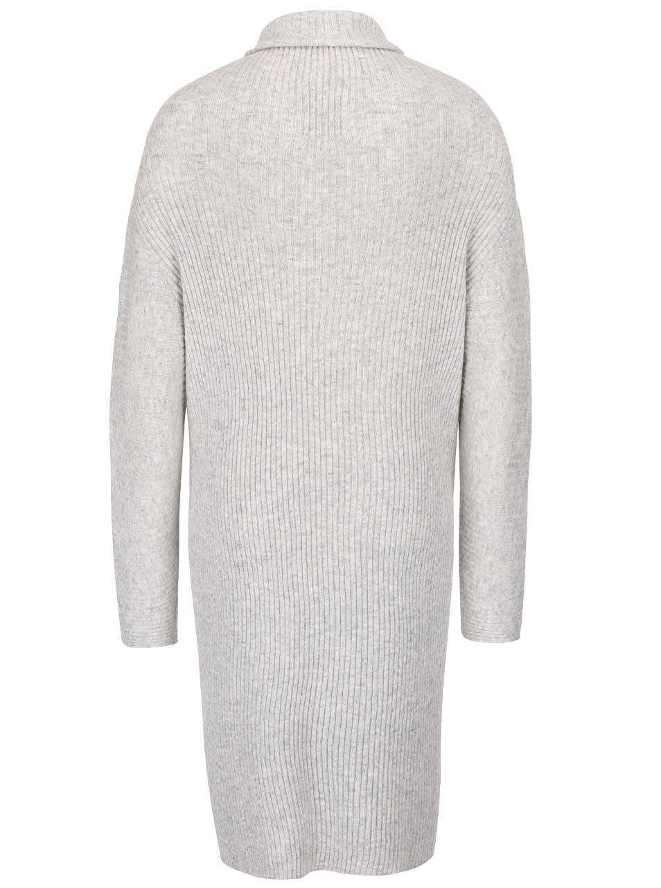 Světle šedé žebrované svetrové šaty s rolákem YAYA  51992d10124