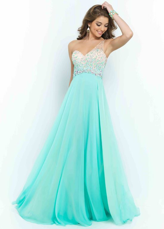 Long Illusion One Shoulder Aquamarine Ombre Stones Prom