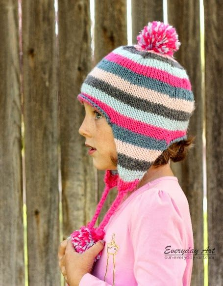 80fc2dc284f Children s Knit Ear Flap Hat Pattern by Everyday Art