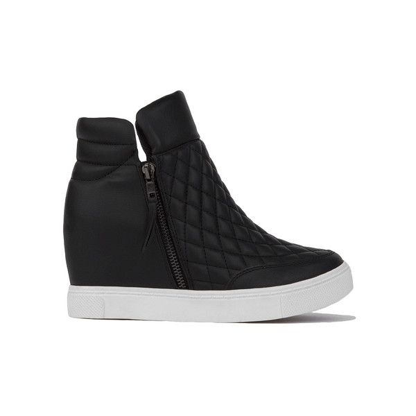 4e03ab7ca92 Steve Madden LINQS Quilted Platform Sneaker Wedges Black ( 100) ❤ liked on  Polyvore featuring shoes