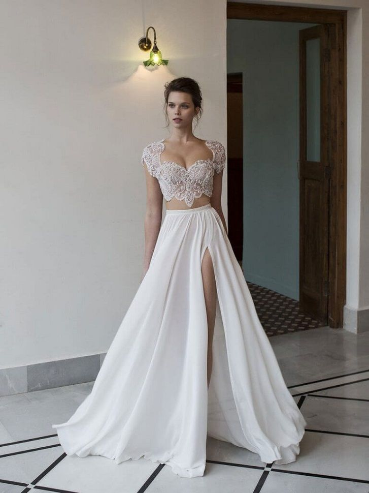Cap sleeves Lace wedding dress separates a line wedding gown,two-piece gown with an embellished top paired with a ivory skirt #croptop #weddingdress #wedding