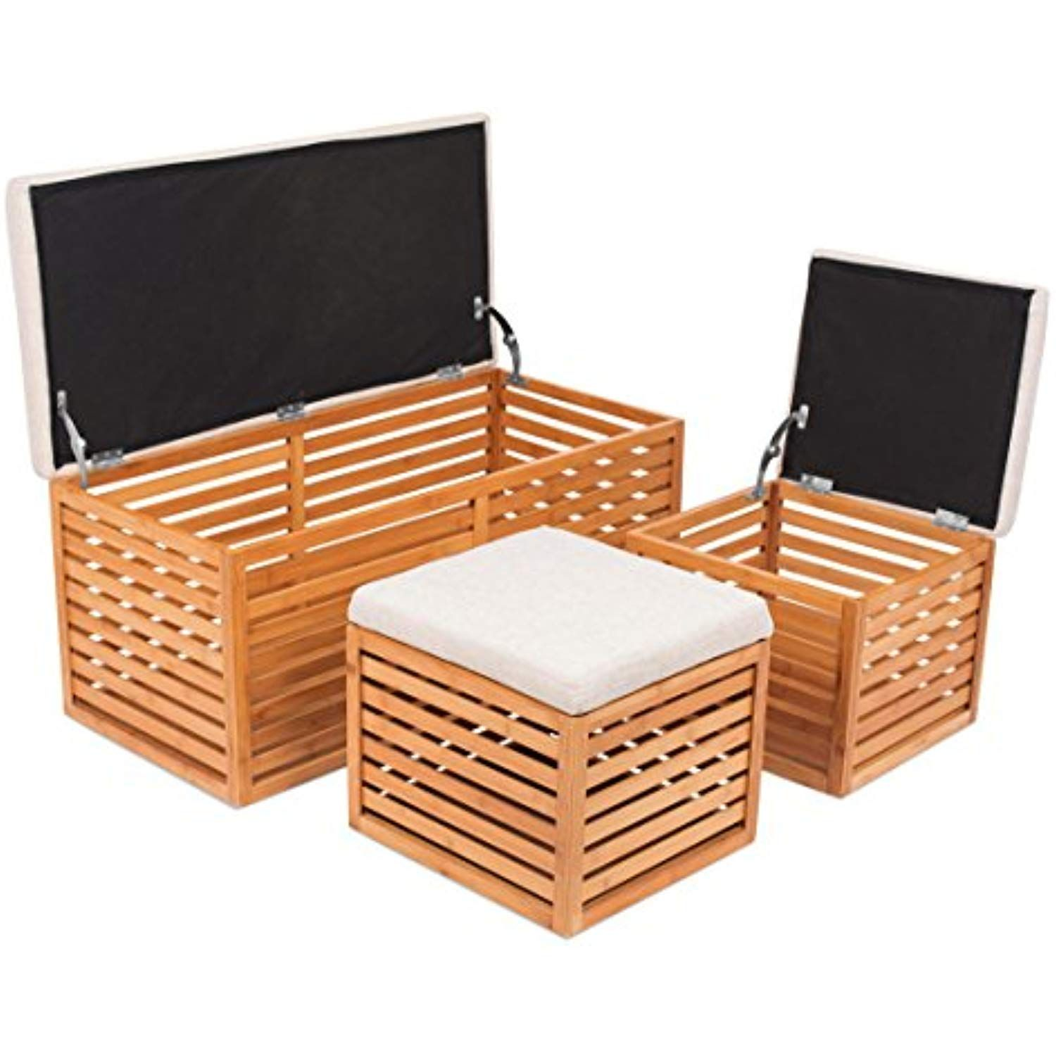Peachy Birdrock Home Bamboo Storage Bench And Ottomans Set Bamboo Uwap Interior Chair Design Uwaporg