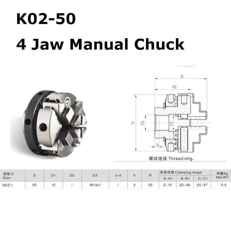Mini 4 Jaw K02-50 50mm M14 Reversable Self-Centering Jaws Lathe ...