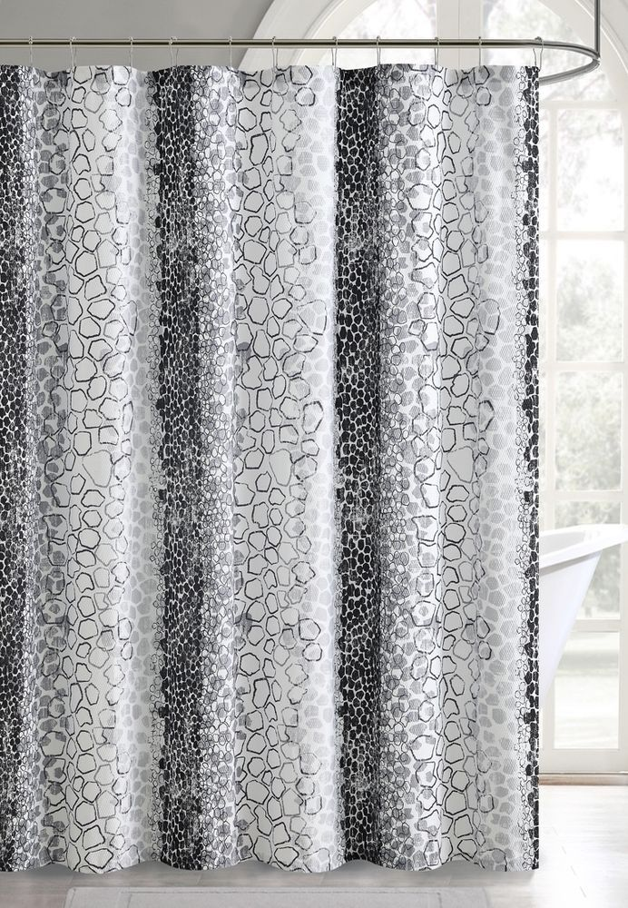 Silver Gray Black White Embossed Fabric Shower Curtain Bathati