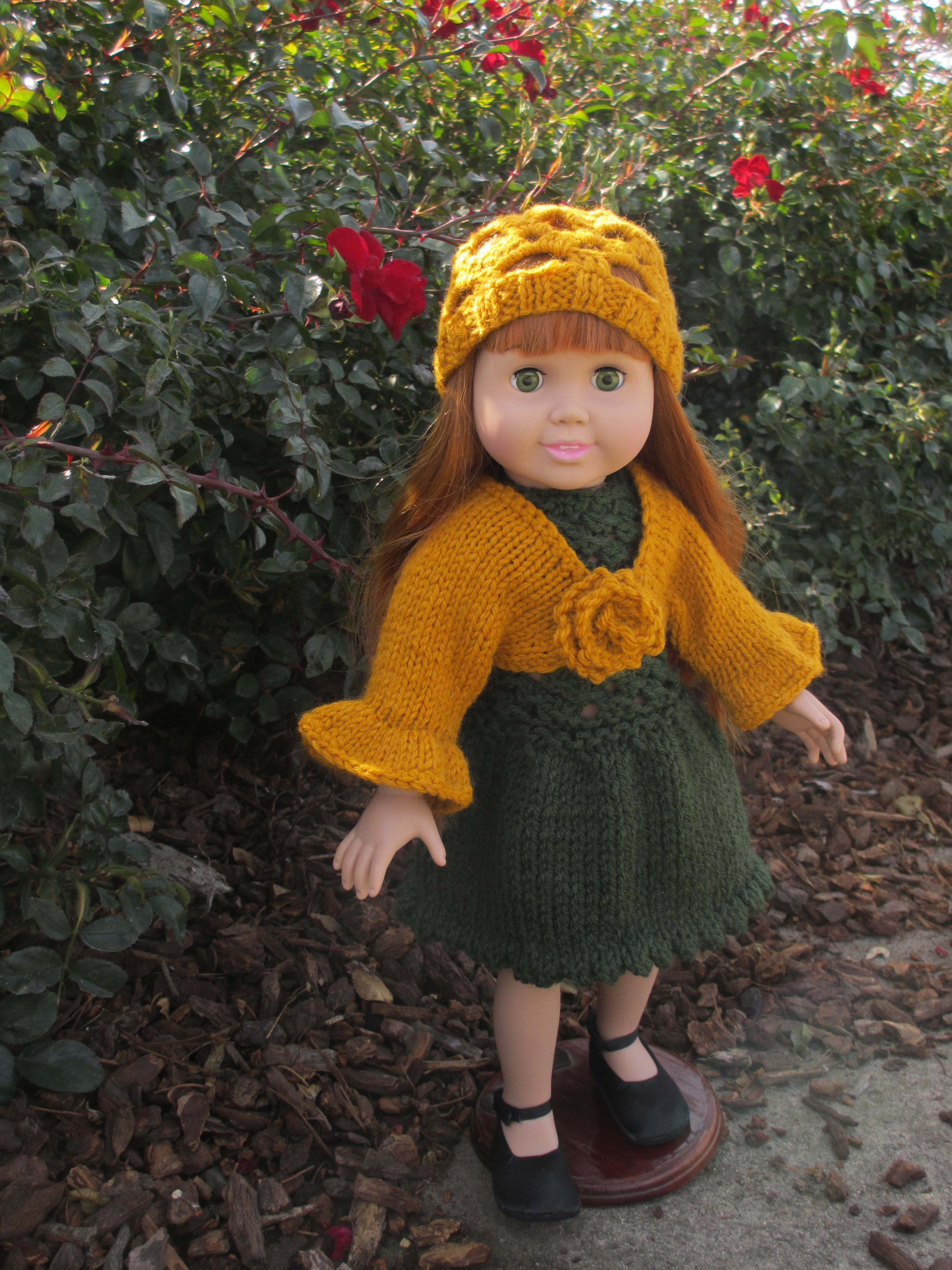 Yellow bolero and a hat to go with the green dress for 18 inch doll