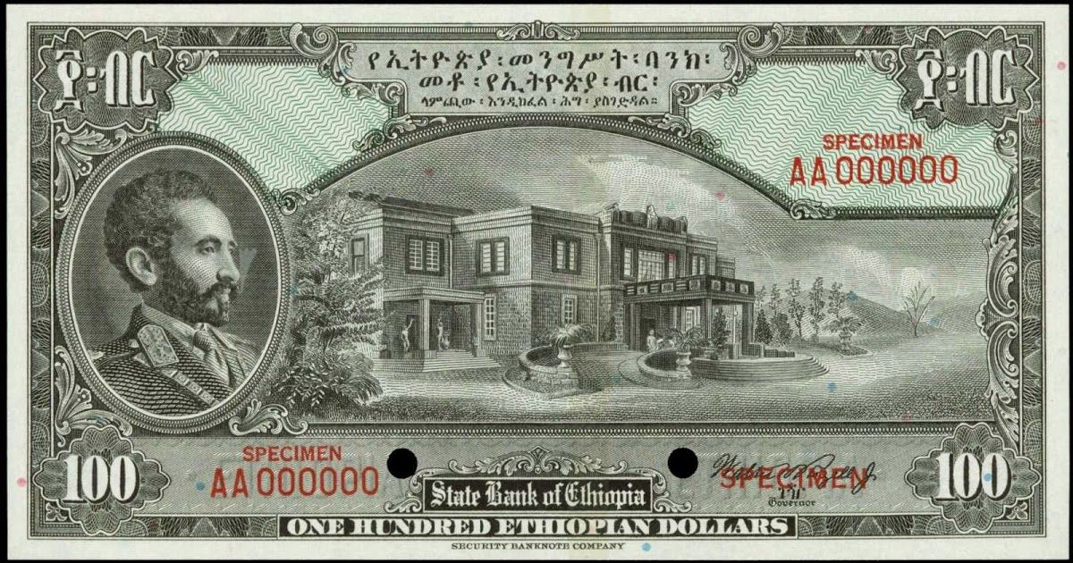 Currency Of Ethiopia 100 Dollars Banknote 1945 State Bank Ethiopian Banknotes Paper Money Note