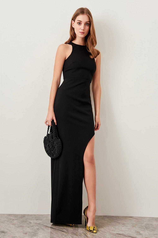 Trendyolmilla Siyah Yirtmac Detayli Uzun Abiye Elbise Elbisebul Aksamustu Giysileri The Dress Mezunlar Gecesi Elbiseleri
