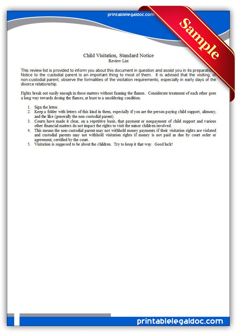 free printable child visitation  standard notice legal