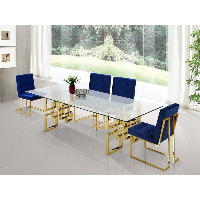 Robey 5 Piece Dining Set Chrome Dining Table Dining Table Gold