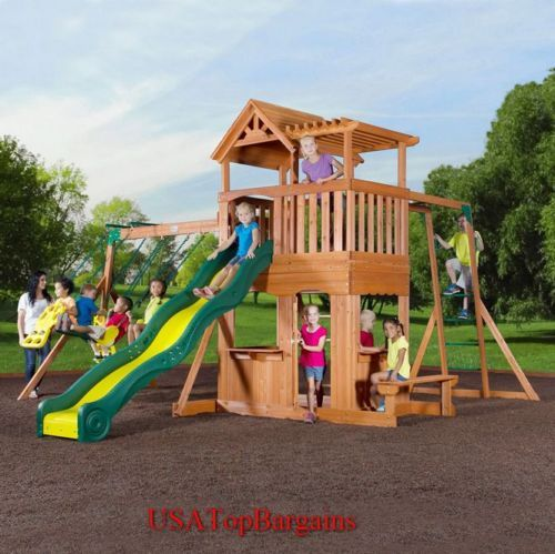 10u0027 Slide Deluxe Wooden Swing Set Cedar Playset Swing Outdoor Wood Kids Play
