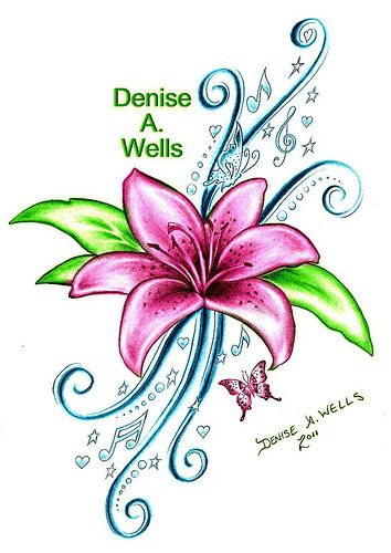 86c587fca Lily Song Tattoo Design by Denise A. Wells - Google my name for more of