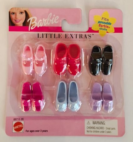 """Barbie Shoes Mattel /"""" Little Extras /"""" For Flat Foot Dolls  Step Out In Style"""