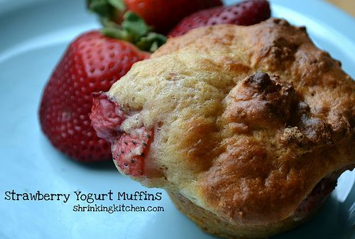Strawberry shortcake in a lowfat muffin! Your whole family will fall for these deliciously healthy Strawberry Yogurt Muffins!