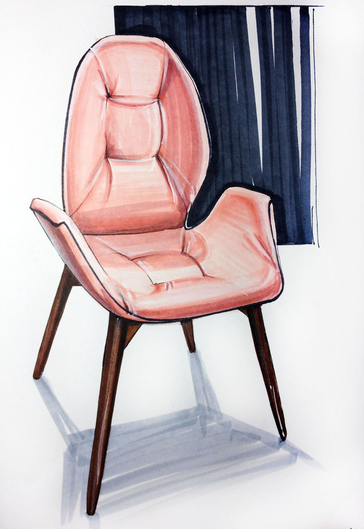 How To Draw Chair? Interior Design, Interior Sketching, Markers,  Watercolor, House