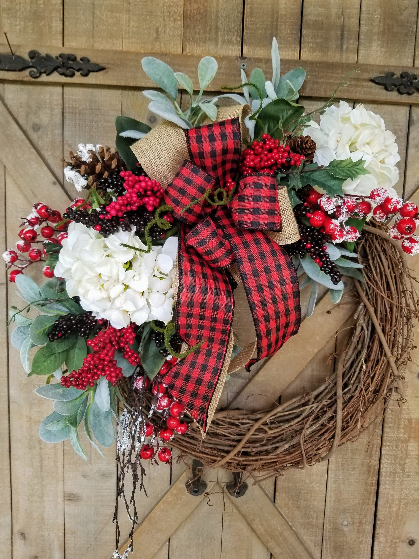 Christmas Wreath Lambs Ear Hydrangea Christmas Christmas Front Door Wreath Christm Christmas Door Decorations Christmas Decorations Wreaths Christmas Wreaths