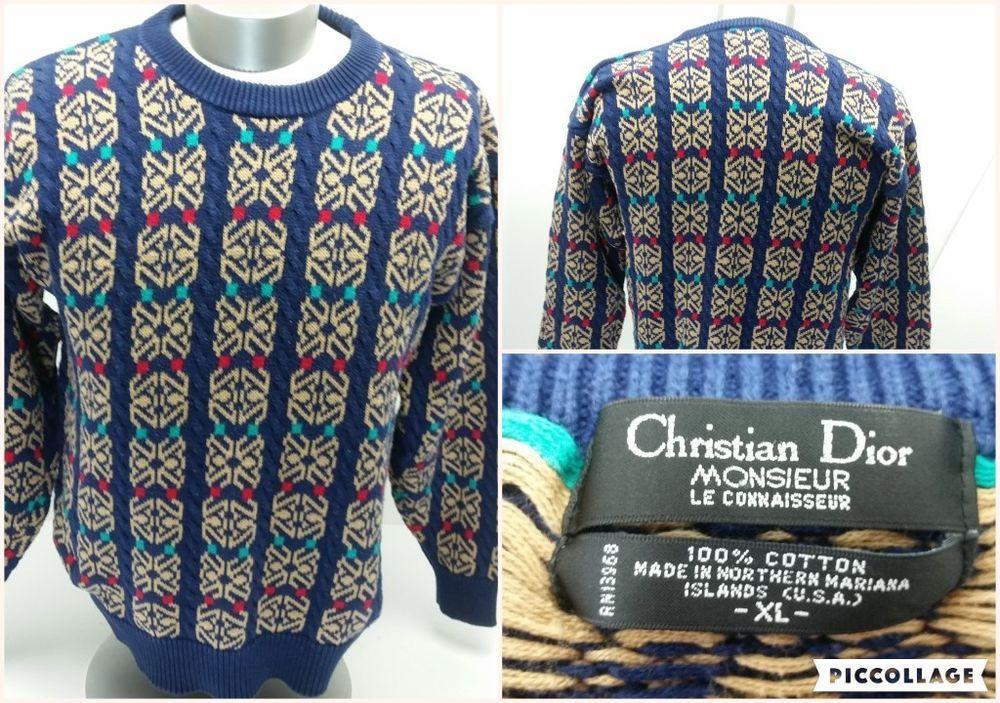 Christian Dior Monsieur Le Connaisseur Sweater Mens Size XL Vintage 80 90s  MULTI  ChristianDior  Crewneck e9c41f9f2