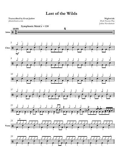 """Drum tab sheet music transcription for """"Last of the Wilds"""