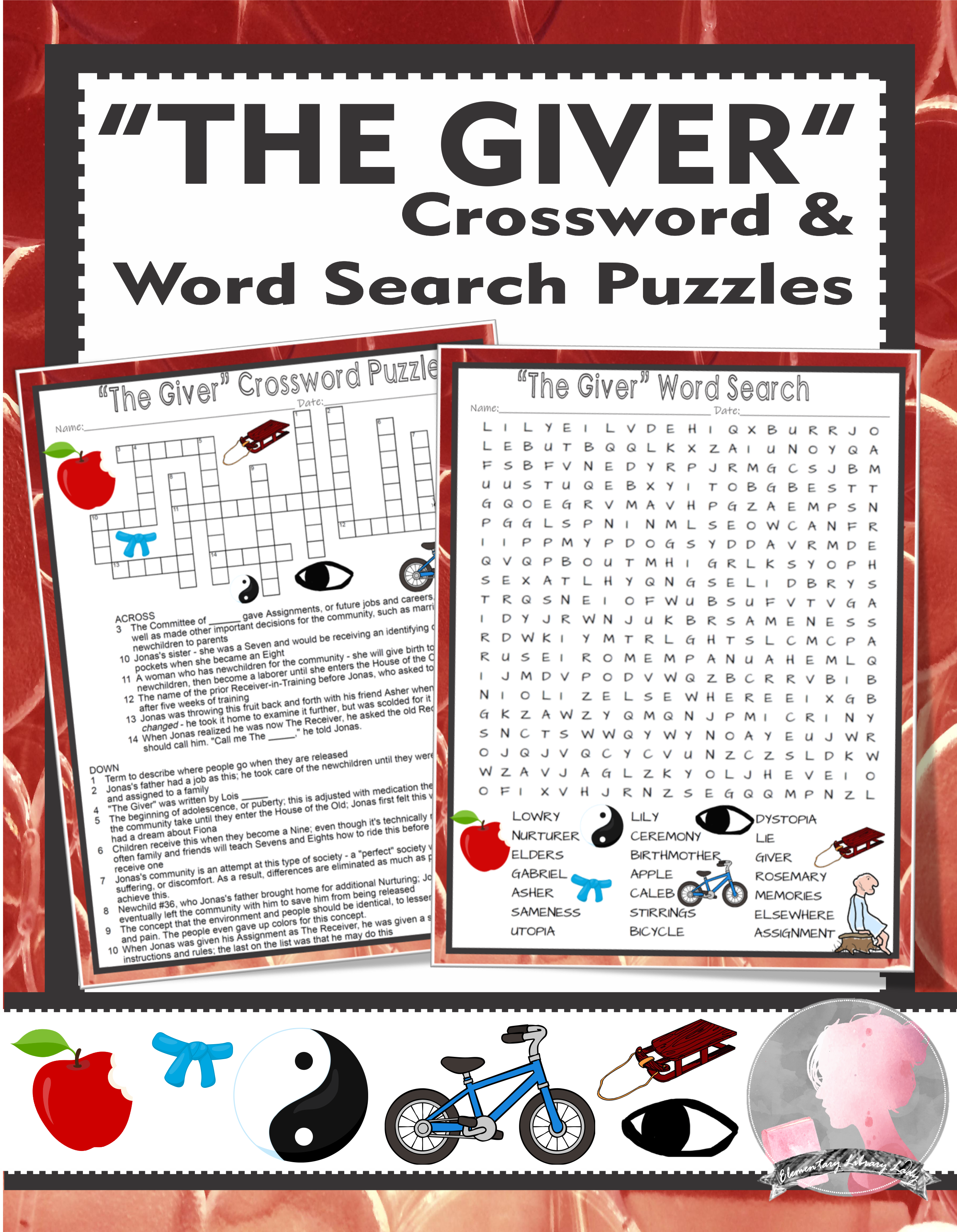 The Giver Activities Lois Lowry Crossword Amp Word Search