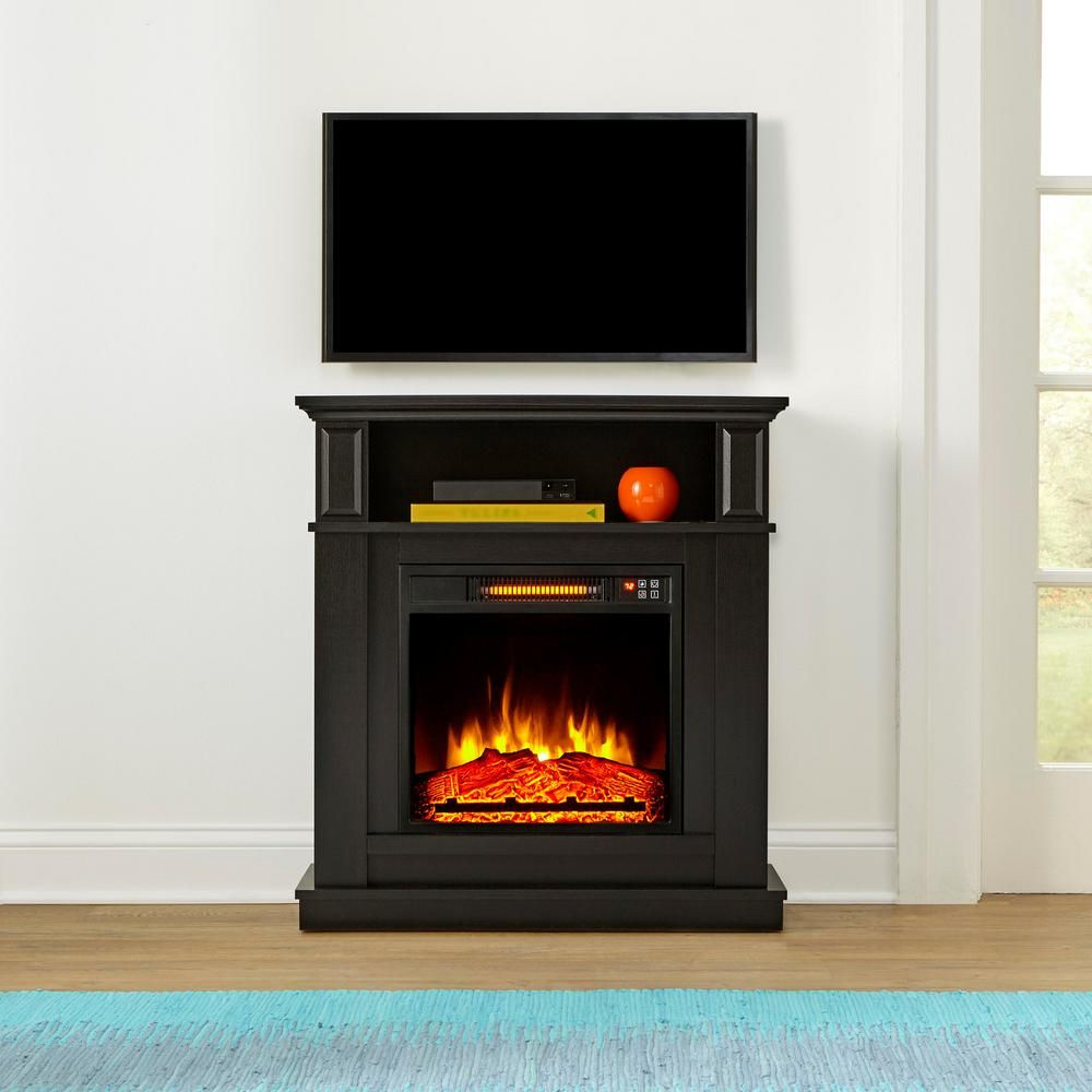Stylewell Albury 31 In Freestanding Compact Infrared Electric Fireplace In Aged Black Electric Fireplace Heater Electric Fireplace Best Electric Fireplace