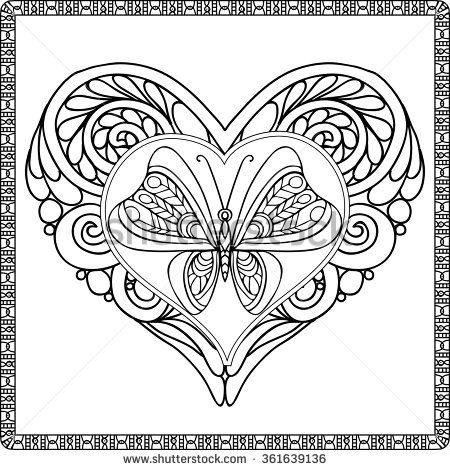 Love Heart With Butterfly Coloring Book For Adult And Older