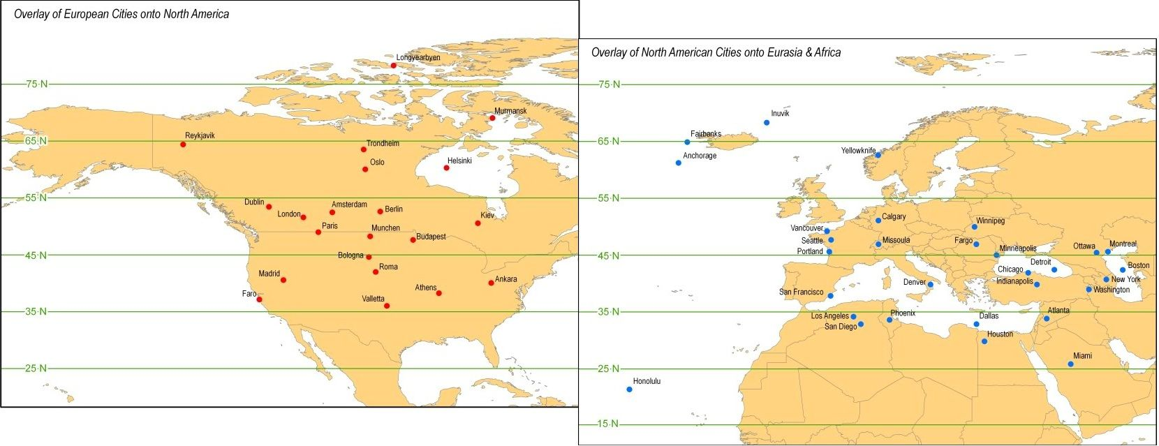Map Of North American And European Cities Transposed Onto The - Map of the united states continents