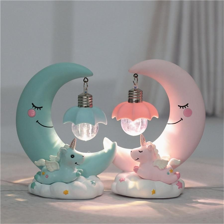 Unicorn Moon Night Lamp Unilovers Unicorn Room Decor Unicorn Lamp Kawaii Room