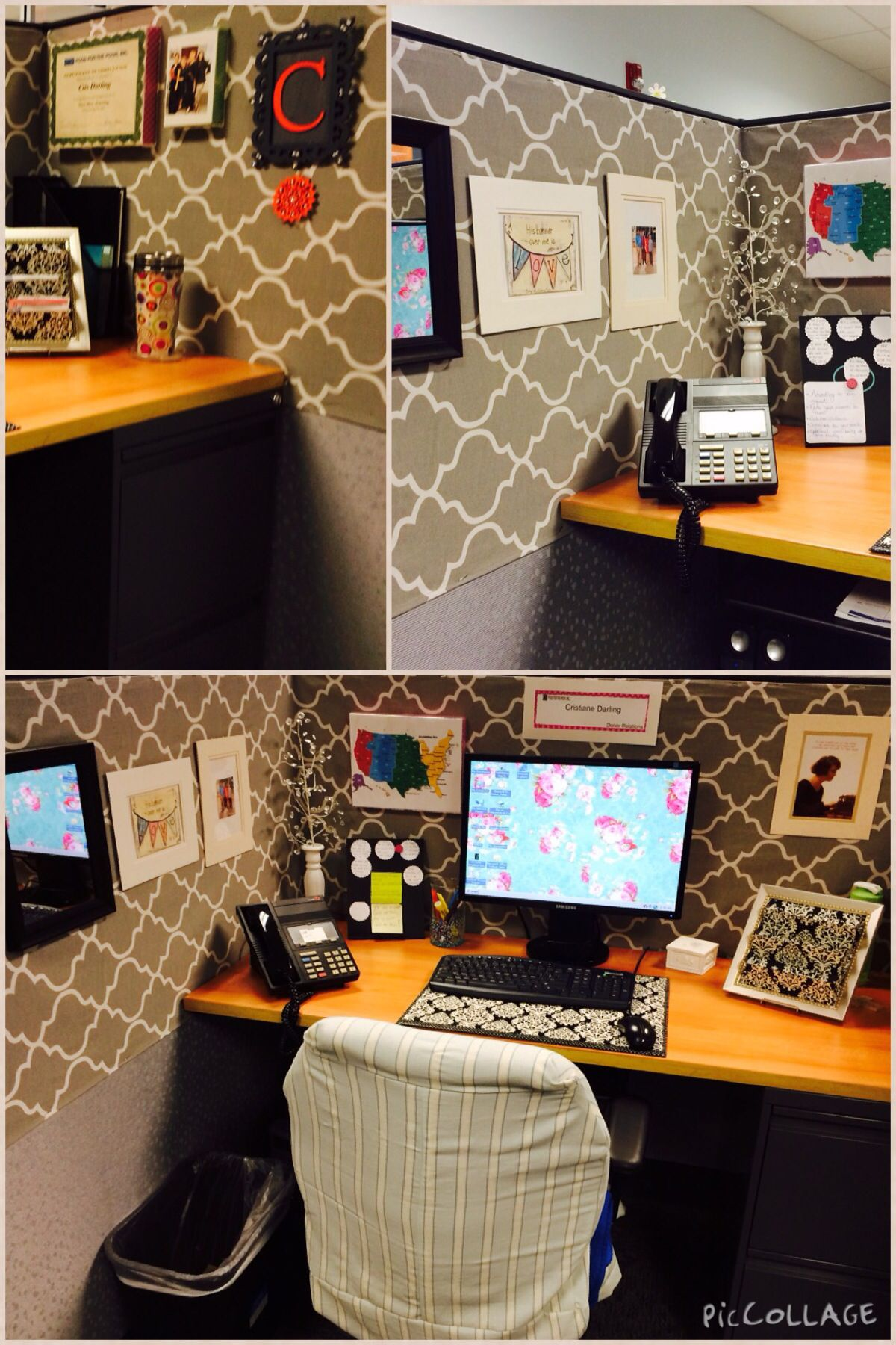 Cubicle makeover everything but the weird thing over the for Decorating work office ideas