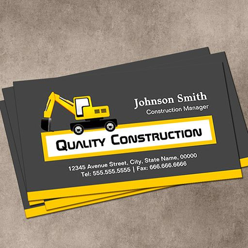 Quality construction company elegant yellow business card colourmoves