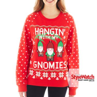 jcpenney gnome holiday sweatshirt christmas is my favorite. Black Bedroom Furniture Sets. Home Design Ideas