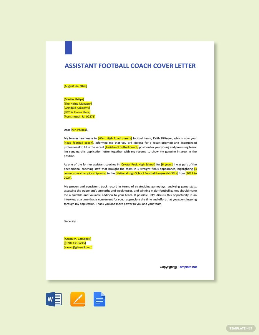 Free assistant football coach cover letter template in