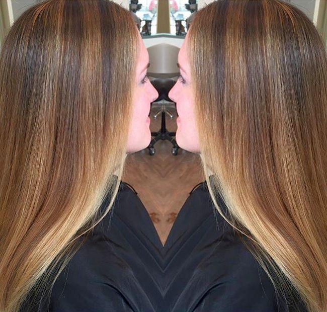 Мелирование на темные волосы с челкой фото до и после фото