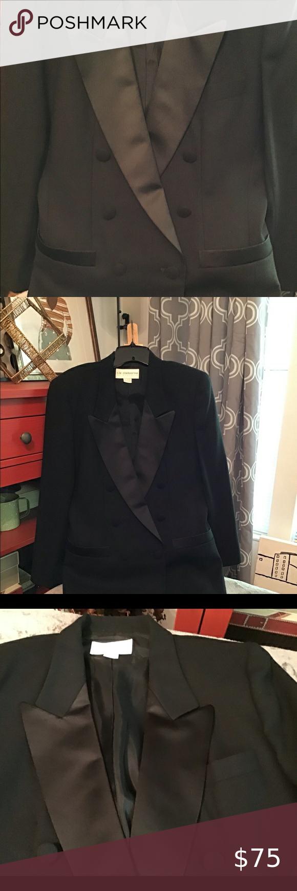Liz Claiborne Tuxedo Jacket Double Breasted With Shawl Lapels Excellent Condition Liz Claiborne Jacke Black Dress Jacket Green Suede Jacket Embroidered Denim [ 1740 x 580 Pixel ]