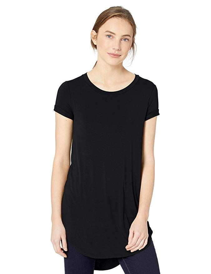 88e470bd2fa Amazon.com  Daily Ritual Women s Jersey Short-Sleeve Open Crew Neck Tunic