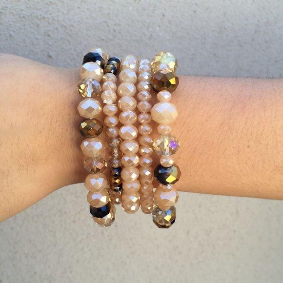Beaded bracelet 5 strand elastic beaded bracelet Jewelry Bracelets