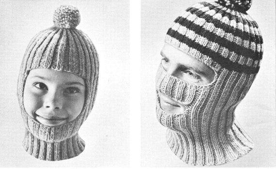 0b790f7c2d vintage knitting pattern boys mens winter hat balaclava mask toque 2 styles  2 sizes printable pdf pa