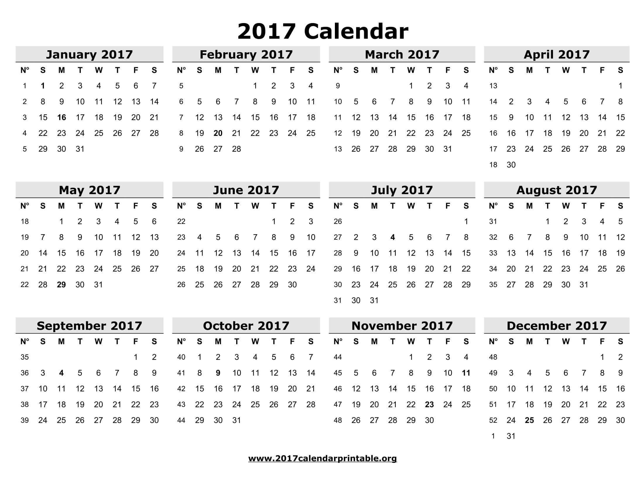 Download 2017 Calendar Printable and Monthly 2017 Calendar with ...