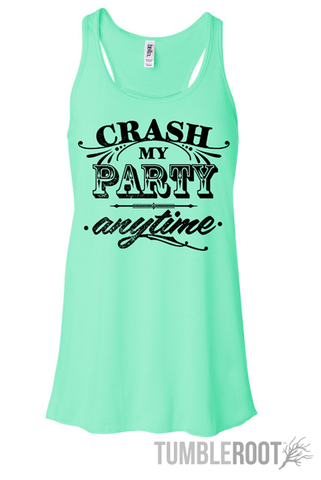 """Adorable Luke Bryan inspired country music racerback tank top """"crash my party anytime"""" the perfect summer country concert tank top in mint!"""