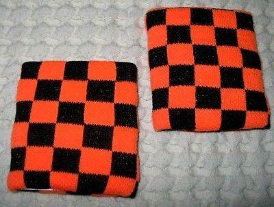 Neon Orange and Black Checker Checkered Diamonds Wristbands