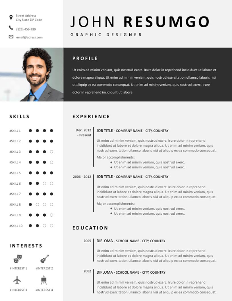 Fotis Modern Gray Resume Template Resumgo Com Modern Resume Template Modern Resume Creative Cv Template