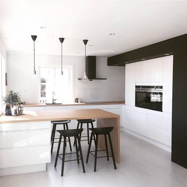 Cucina stile moderno scandinavo a forma di U in bianco e nero - idee ...