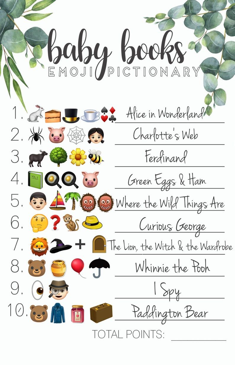 Baby Shower Emoji Pictionary Game - with answer key ...