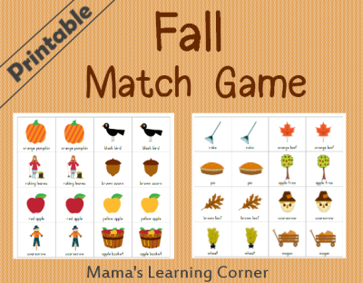 free printable fall matching game free homeschool deals pinterest matching games. Black Bedroom Furniture Sets. Home Design Ideas