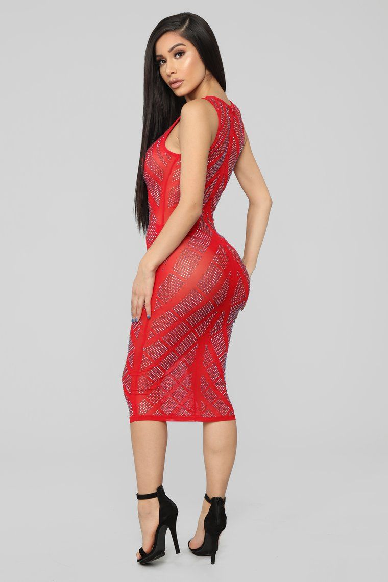 Just For You Rhinestone Dress Red Dresses, Red dress