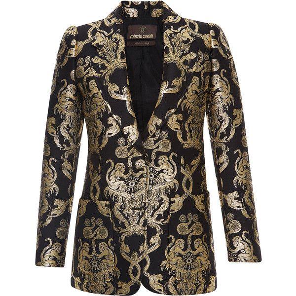 Black and gold printed blazer